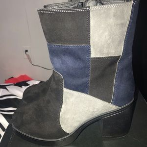 Patchwork Suede Boots
